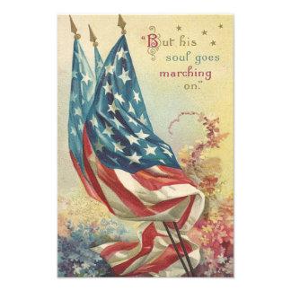 US Flag Memorial Day Flower Photo Print