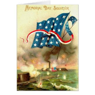 US Flag Merrimack Monitor Ironclad Ship Card
