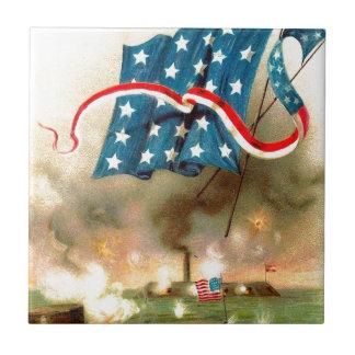US Flag Merrimack Monitor Ironclad Ship Ceramic Tile