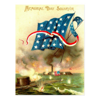 US Flag Merrimack Monitor Ironclad Ship Postcard