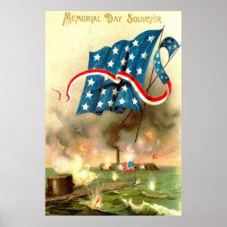 US Flag Merrimack Monitor Ironclad Ship Poster