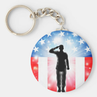 US flag military armed forces soldier silhouette Keychains