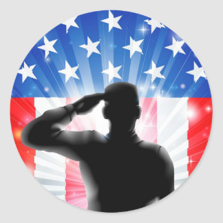 US flag military soldier saluting in silhouette Classic Round Sticker