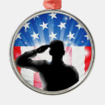 US flag military soldier saluting in silhouette Round Metal Christmas Ornament