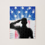 US flag military soldier saluting in silhouette Puzzle