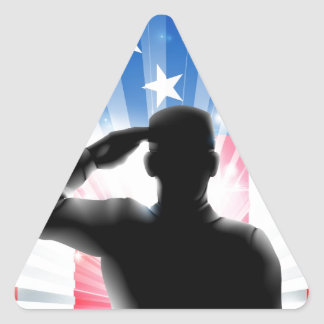 US flag military soldier saluting in silhouette Triangle Sticker