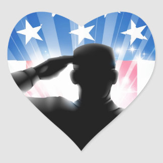 US flag military soldier saluting in silhouette Heart Sticker