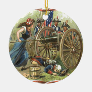 US Flag Molly Pitcher Cannon Ceramic Ornament