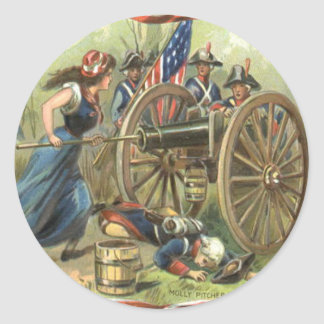 US Flag Molly Pitcher Cannon Classic Round Sticker