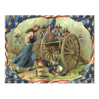 US Flag Molly Pitcher Cannon Postcard
