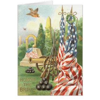 US Flag Monument Cannon Rifle Songbird Card