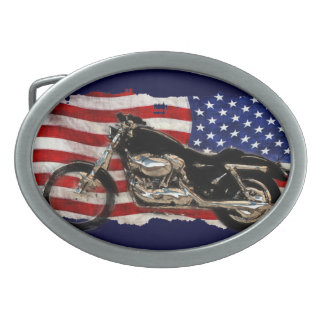 US Flag, Motorcycle, Motorbike, Hog Oval Belt Buckle