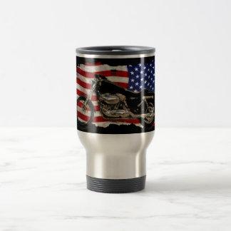US Flag, Motorcycle, Motorbike, Hog, Travel Mug