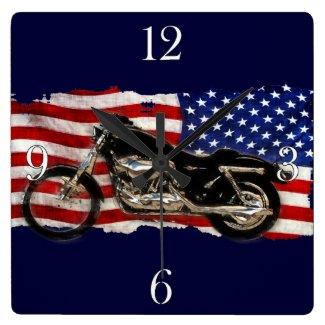 US Flag & Motorcycle, Motorbike, Patriotic Art