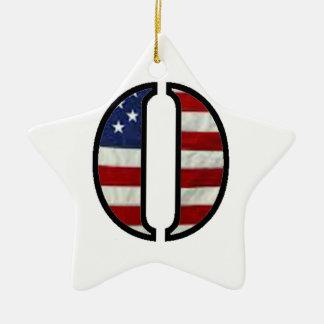 """US Flag """"O"""" Ceramic Ornament"""