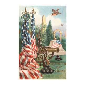 US Flag Obelisk Cannon Ball Rifle Statue Canvas Print