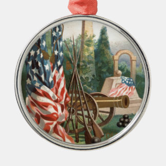 US Flag Obelisk Cannon Ball Rifle Statue Metal Ornament