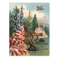 US Flag Obelisk Cannon Ball Rifle Statue Postcard