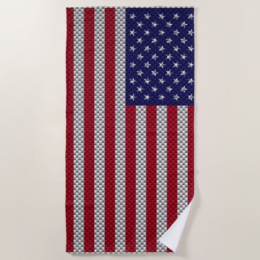 Beach Themed US Flag on Carbon Fiber Style Decor Beach Towel