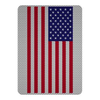 US Flag on Carbon Fiber Style Decor Card