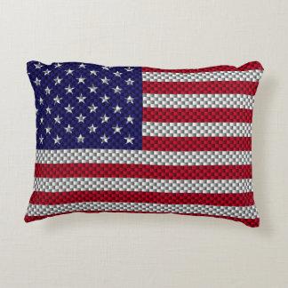 US Flag on Carbon Fiber Style Decor Print Decorative Pillow