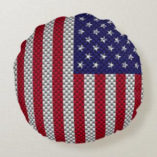 US Flag on Carbon Fiber Style Decor Print Round Pillow
