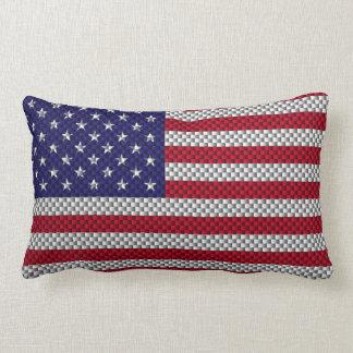 US Flag on Carbon Fiber Style Decor Print Throw Pillow