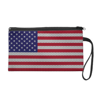 US Flag on Carbon Fiber Style Decor Print Wristlet