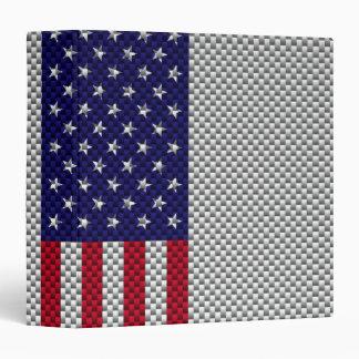 US Flag on Carbon Fiber Style Decor Vinyl Binders