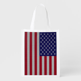 US Flag on Carbon Fiber Style Print Reusable Grocery Bags