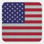 US Flag on Carbon Fiber Style Print Square Sticker