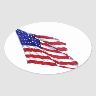 US Flag Oval Sticker