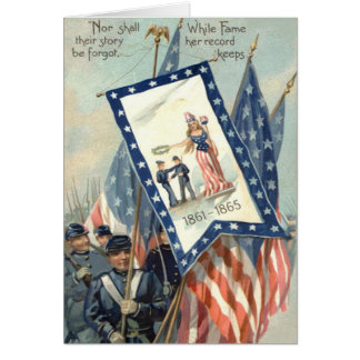 US Flag Parade March Civil War Lady Liberty Card