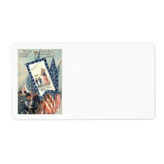 US Flag Parade March Civil War Lady Liberty Label