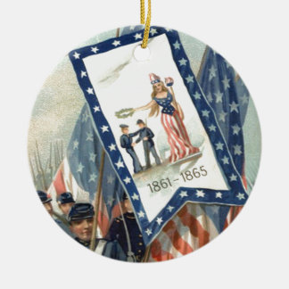 US Flag Parade March Civil War Lady Liberty Christmas Tree Ornament