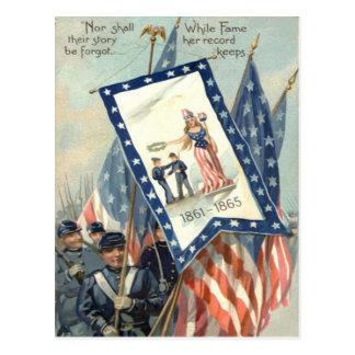 US Flag Parade March Civil War Lady Liberty Postcard