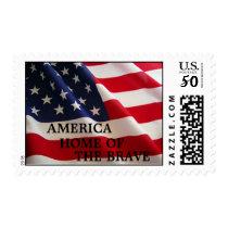 US Flag Patriotic American Postage Stamp