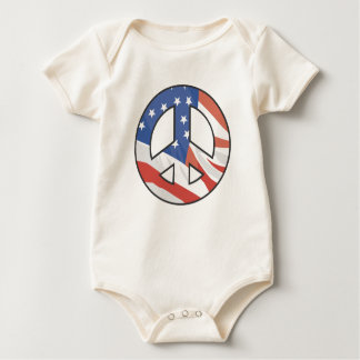 US Flag Peace Sign Baby Bodysuit