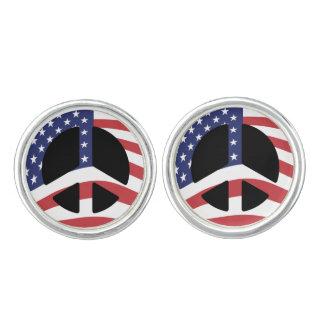 US Flag Peace Sign Cufflinks