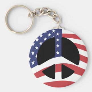 US Flag Peace Sign Keychain