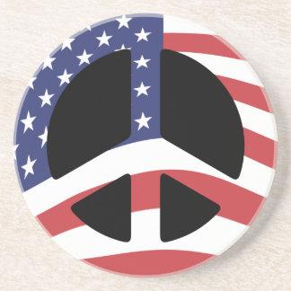 US Flag Peace Sign Sandstone Coaster
