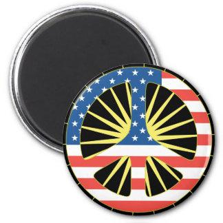 US Flag Peace Symbol 2 Inch Round Magnet