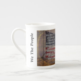 US Flag Photograph and US Constitution Preamble Tea Cup