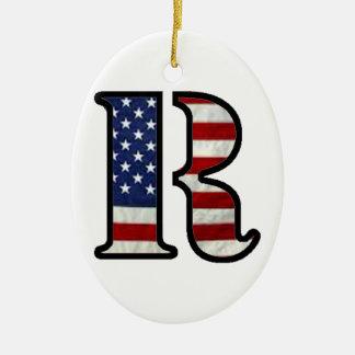 """US Flag """"R"""" Ceramic Ornament"""