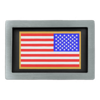 US Flag Rectangular Belt Buckle