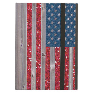 US Flag Red Blue Glitter Vintage Wood Panels Case For iPad Air
