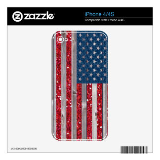 US Flag Red Blue Glitter Vintage Wood Panels iPhone 4S Skins