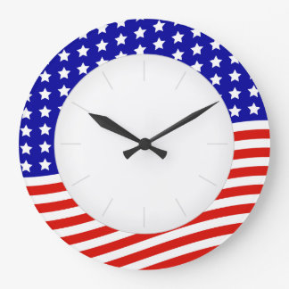 US Flag Red White and Blue 4th of July Patriotic Large Clock