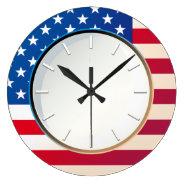 US Flag Round Clock