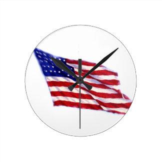 US Flag Round Wallclock